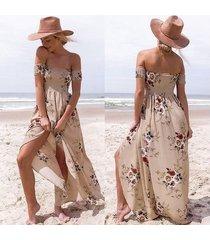 vestido largo estilo boho mujeres fuera del hombro vestidos de verano de playa estampado floral vestido largo caqui de gasa vintage vestidos de festa-khaki