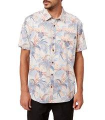 men's o'neill atlas standard fit tropical short sleeve button-up shirt, size medium - ivory