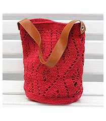 cotton bucket bag, 'diamond crochet in crimson' (brazil)