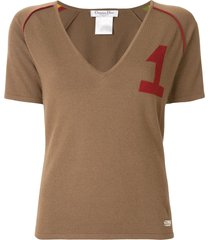 christian dior varsity-style knitted top - brown