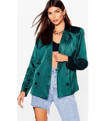 womens let's sleek business satin double breasted blazer - emerald
