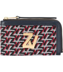 zadig & voltaire logo-embroidered leather wallet - silver