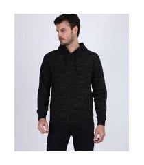 blusão de moletom masculino com capuz e zíper preto