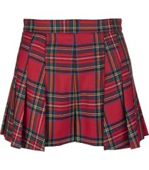 red valentino red wool shorts with tartan pattern