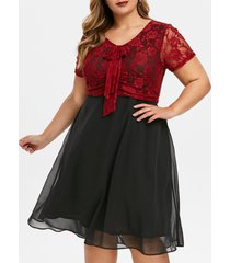 lace panel bowknot plus size semi formal dress