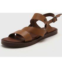 sandalia de cuero marrón citadina velosia