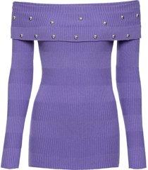 maglione con spalle scoperte e borchie (viola) - bodyflirt boutique