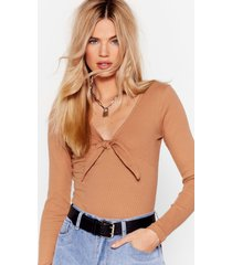 womens bow us how ribbed high-leg bodysuit - camel