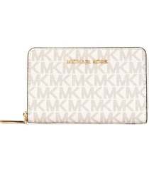 michael michael kors all-over logo print wallet - white