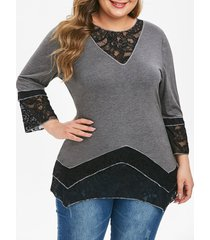 plus size contrast lace long tunic t shirt