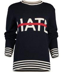 no hate itarsia crewneck sweater