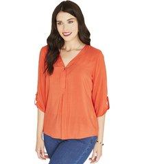 blusa manga 3,4 naranja lisa curvi