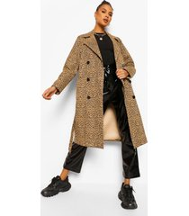luipaardprint trench coat, brown
