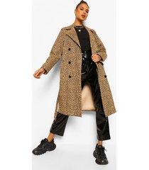 luipaardprint trench coat, brown