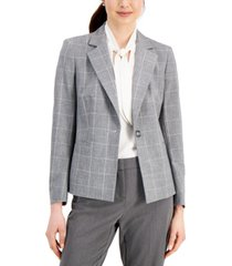 kasper petite plaid single-button blazer