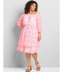 lane bryant women's off-the-shoulder layered midi dress 26/28 pink/white