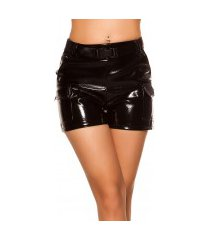 sexy wetlook hoge taille shorts met riem zwart