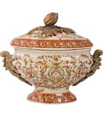 pote decorativo de porcelana e bronze com suporte - linha oriental