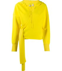 3.1 phillip lim slouchy tie front hoodie - yellow