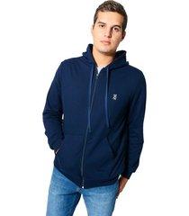 zipper hoodie con bolsillo canguro tela burda cristina - azul oscuro