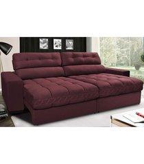 sofã¡ retrã¡til e reclinã¡vel com molas ensacadas cama inbox master 2,12m tecido suede vinho - incolor - dafiti