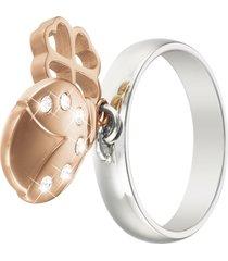 anello charms in acciaio bicolore e cristalli per donna