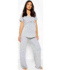 zwangerschap borstvoeding wikkel top en broek pyjama set, grijs