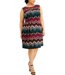 connected plus size zig zag fit & flare dress