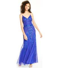 jump juniors' beaded sequin-embellished gown