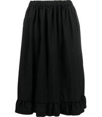 comme des garçons girl ruffled-hem midi skirt - black