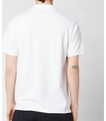 maison kitsuné men's navy fox patch polo shirt - white - m