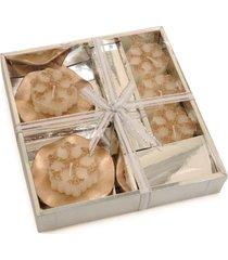 kit vela de natal decoração porta vela 3 peças 5cm nude