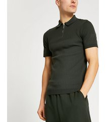 river island mens khaki ribbed knit muscle fit polo shirt