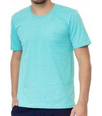 camiseta masculina bã¡sica azul claro com bordado area verde - 100% algodã£o - multicolorido - masculino - dafiti