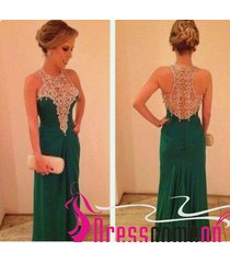 a-line beaded bodice designer hunter green prom dress long chiffon prom dresses