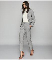 reiss romy jacket - wool blend checked blazer in grey, womens, size 0