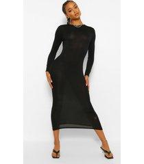 basic maxi jurk met lange mouwen en crewneck, black