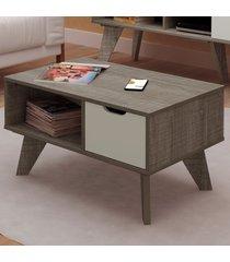mesa de centro vip 1 gaveta canela/off white - artely