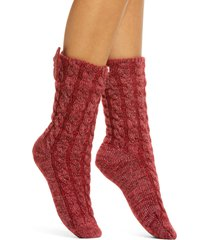 women's ugg laila bow fleece lined socks, size one size - red