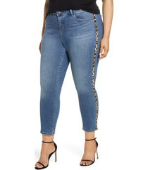 plus size women's slink jeans leopard stripe high waist jeans