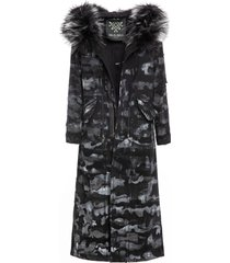camouflage denim long jazzy parka