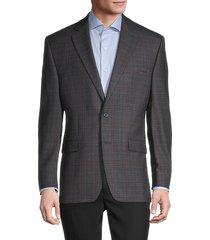 lauren ralph lauren men's standard-fit plaid wool-blend jacket - grey brown - size 42 r