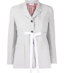 thom browne seersucker belted sack jacket - grey