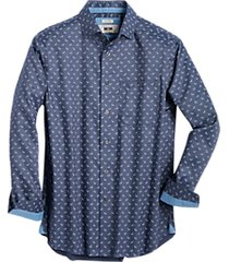 joseph abboud navy blue paisley woven cotton sport shirt