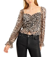 bar iii ruched sweetheart-neck top, created for macy's
