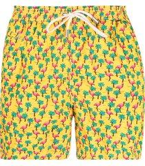 mc2 saint barth flamingo palms swim shorts - yellow