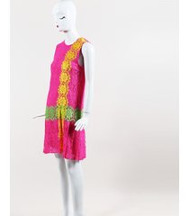 pink yellow & green lace pleated shift dress