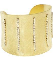 bracciale bangle big in bronzo dorato e cristalli per donna