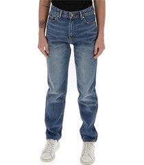 jeans met rechte pijpen en hoge taille