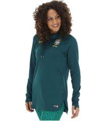 blusão da seleção brasileira hoodie com capuz 2019 nike - feminina - petroleo